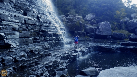 G standing at the bottom of the Graskop Falls, It was not easy to get here. This photos was taken by my 6 year old son. MrZZ